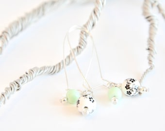 Black and White Cherry Blossom Mint Drop Earrings