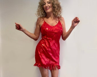 2d5e13d9858b Tina Turner Inspired Dress. Made in USA. Red stretch hologram fabric