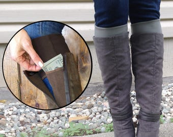"Boot cuffs with ""stash pocket"" to hide your cash, cards, etc. Handmade original"