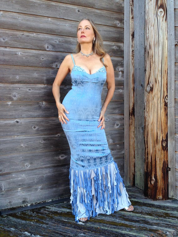 One of a kind evening gown. Light blue with crystals and silk | Etsy