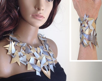 Metallic Leather-look necklace wrist cuff. Handmade. OOAK