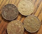 Britain 3 Pence lot of 4 1937-45 1feb