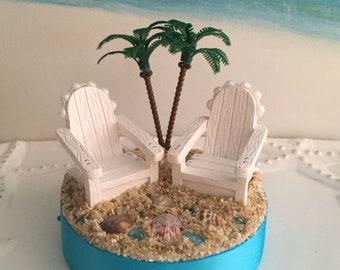 Adirondack Chairs on a Beach Wedding Cake Topper~Palm Tree~Seashell Cake Topper