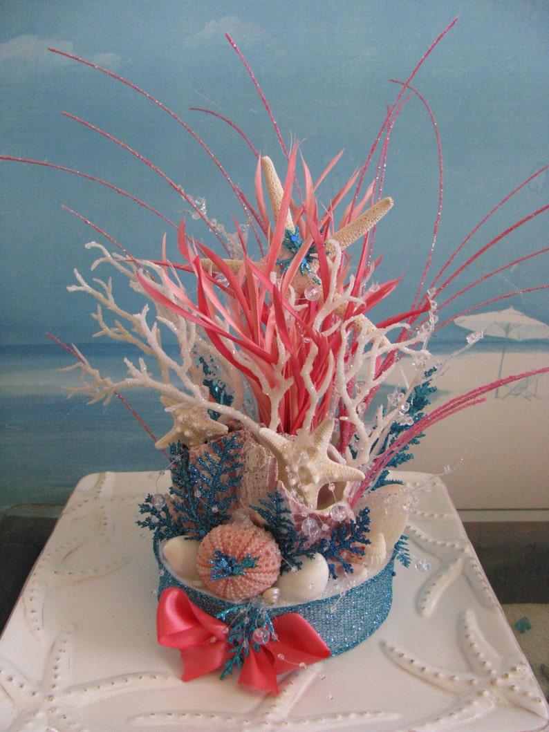 ab0be660fe211e Coral Reef Beach Wedding Cake TopperBeach Wedding