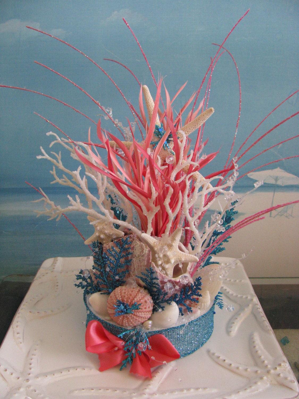 Coral Reef Beach Wedding Cake TopperBeach Wedding | Etsy