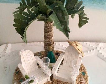Adirondack Chairs on a Beach Wedding Cake Topper~Palm Tree~Champagne Bottle ~Glasses~Bridal Veil~Straw Hat