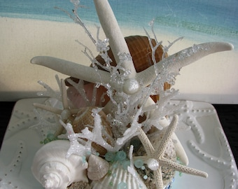 Starfish Seashell Beach Wedding Cake Topper