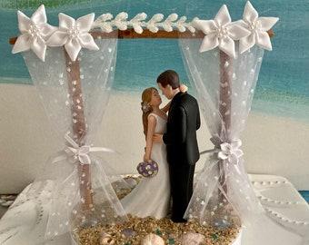 Arch Pergola Arbor Beach Wedding Cake Topper~Bride and Groom on a Beach Cake Topper
