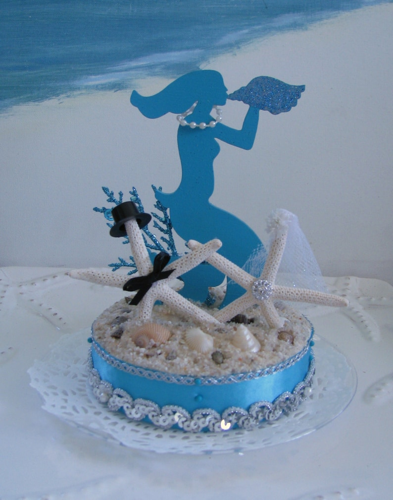 Mermaid Wedding Cake Topper Starfish Wedding Cake Topper Beach Wedding Cake Topper
