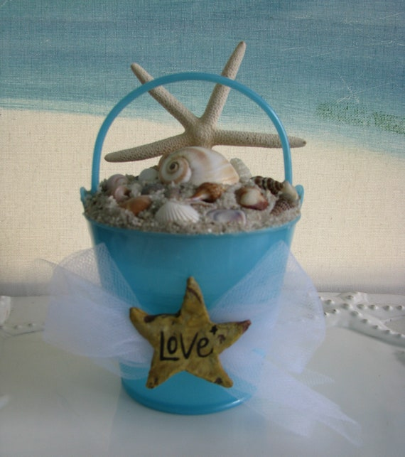 Sand Pail Seashells Starfish Wedding Cake Topper Beach Wedding Cake Topper