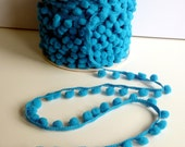 Vivid Blue Small Baby Pom Pom Bobble Trim 8mm wide pom poms - by the metre - UK SELLER (A4)