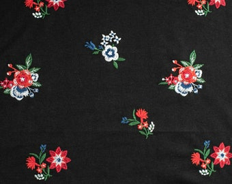 841b6becd0a Black Fine Loopback Jersey Fabric with Floral Embroidery Pattern - sold by  the metre