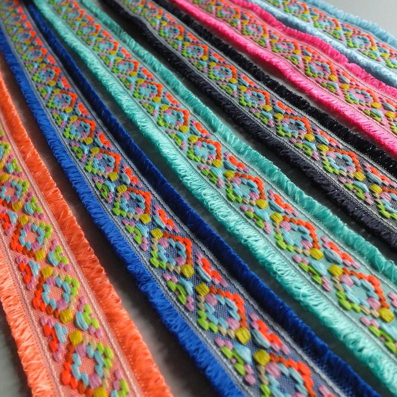 Neon Multicoloured Double Edge Loop Fringe Fashion Trim 45mm wide 1 3/4
