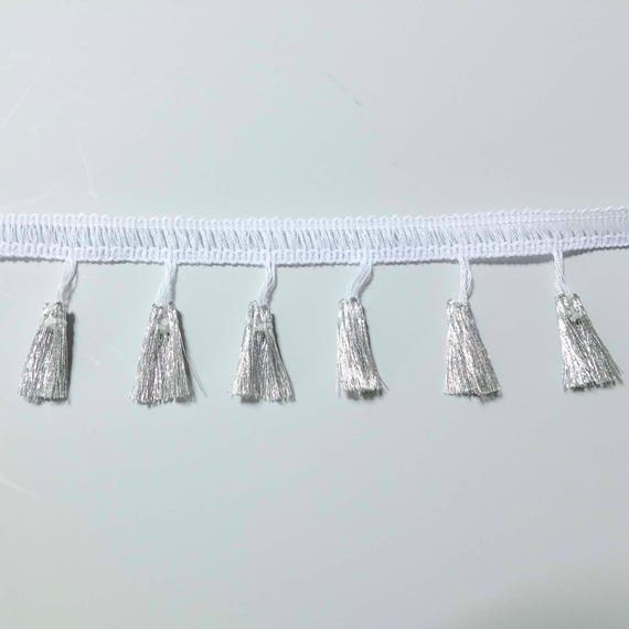 fashion White Looped Dress Fringe 30cm wide 12 inch craft sold by the metre