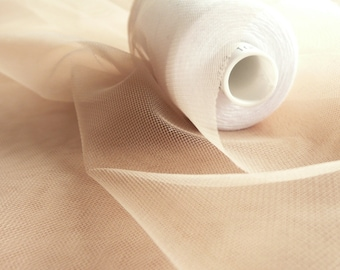 Super fine soft nude skin flesh coloured illusion tulle fabric 150cm wide - very delicate mesh - sold by the metre - prom, underskirt (H3)