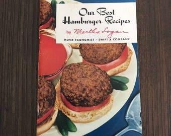 Vintage Cookbook Our Best Hamburger Recipes by Martha Logan Mini Cookbook Pamphlet | Popular Cookbooks | Vintage Cookbooks | Old Cookbooks