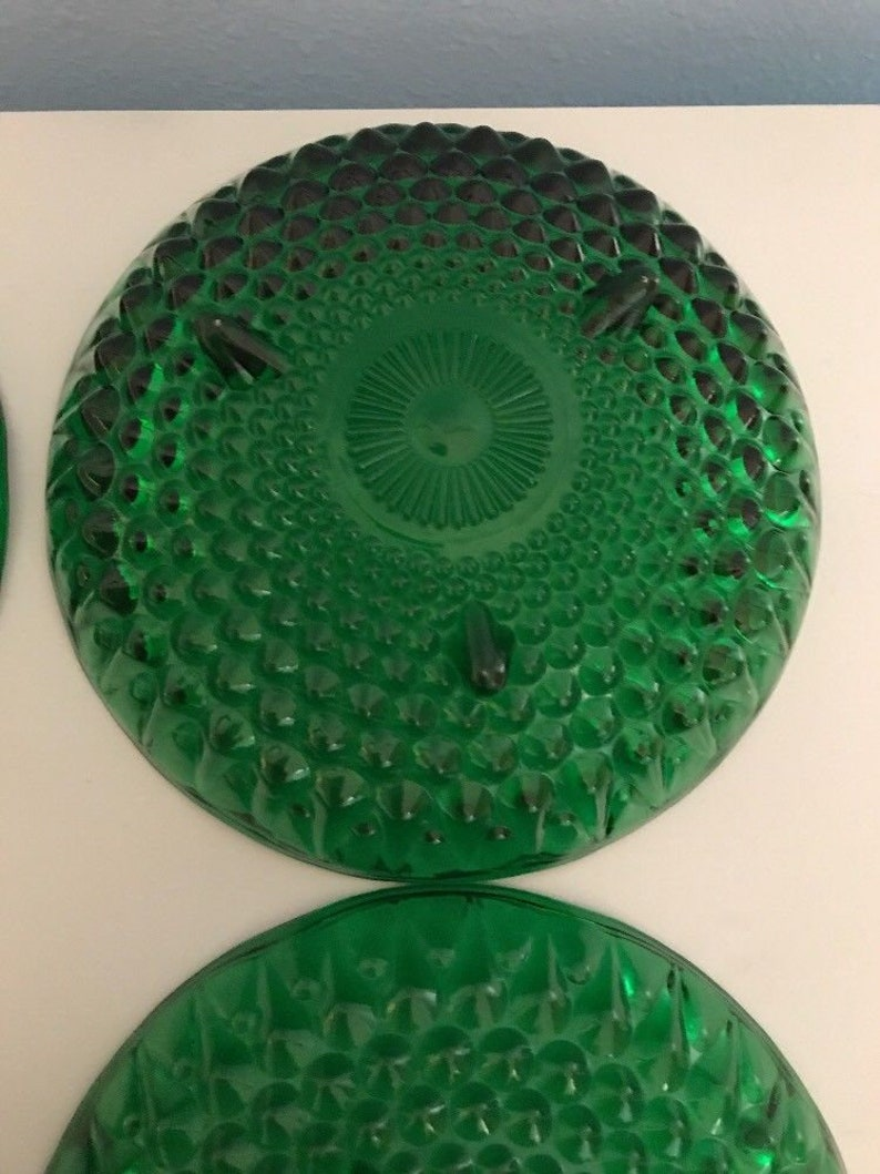 Four Green Glass Footed Dishes Bowls Teardrop Embossed Scalloped Edge Christmas Tablesetting Christmas Entertaining