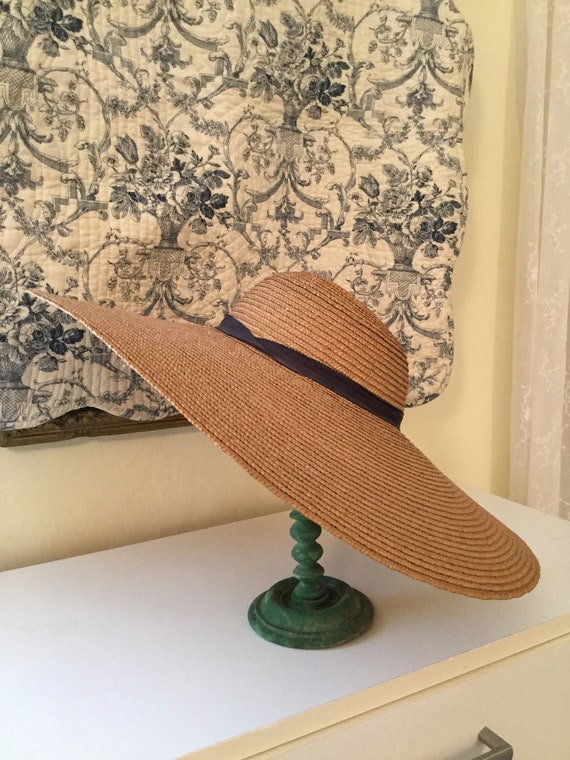 Two Antique  Wide Brimmed Straw hats   Late 19th C
