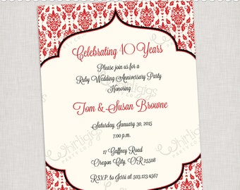 40th anniversary invitations etsy