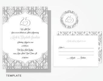 30th Anniversary Invitation Template Printable Pearl Etsy