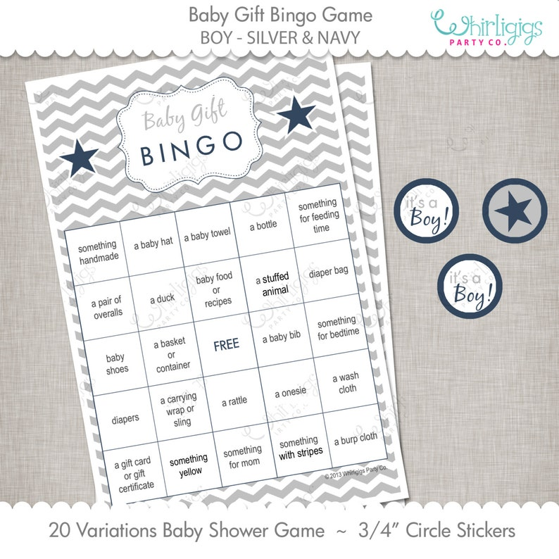 Silver /& Navy Blue Gift Bingo Game Chevron Baby Shower INSTANT DOWNLOAD