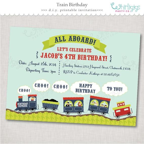 Train Party Invitation Birthday Express