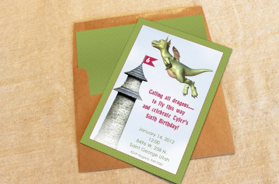 12 Dragon Party Invitations With Lined Envelopes Etsy