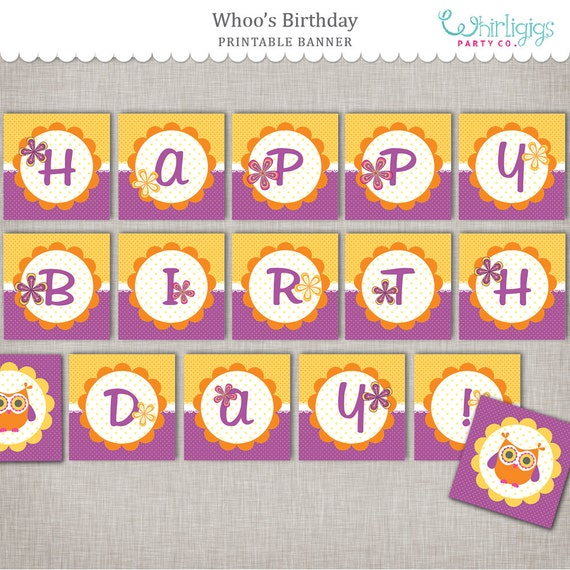 photograph regarding Happy Birthday Printable Banner known as Owl Birthday Banner - Prompt Down load Delighted Birthday in just