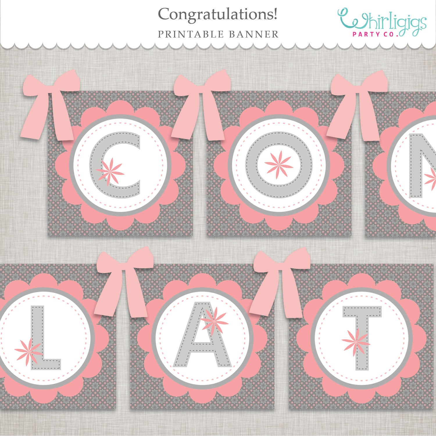 picture about Congratulations Banner Free Printable named Red Floral Congratulations Banner Printable Report Instantaneous Down load