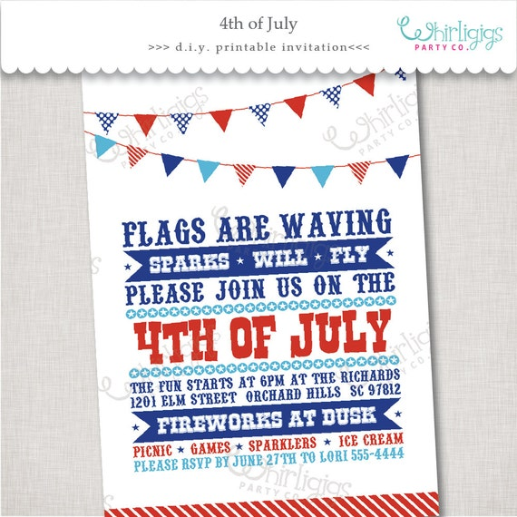 4th Of July Event Invitation Printable Digital File Or Printed