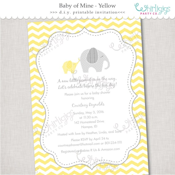 Yellow Elephant Baby Shower Invitation Printable Digital File Or