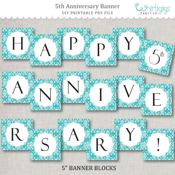 graphic about Happy Anniversary Banner Free Printable identified as 5th Anniversary Fast Obtain Banner - Turquoise