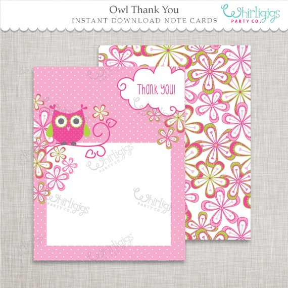 image relating to Printable Whirligig Patterns titled Owl Thank Oneself Notes Quick Obtain d.i.y. Printable PDFs