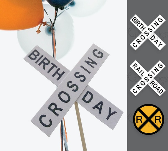 graphic regarding Railroad Crossing Sign Printable known as Railroad Indicator Educate Birthday Get together Do-it-yourself Printable -3 Indicator