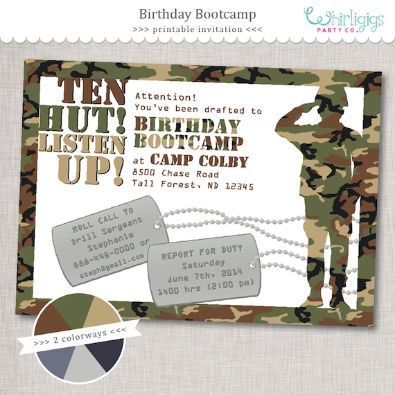 Bootcamp birthday army party invitation printable digital etsy image 0 filmwisefo