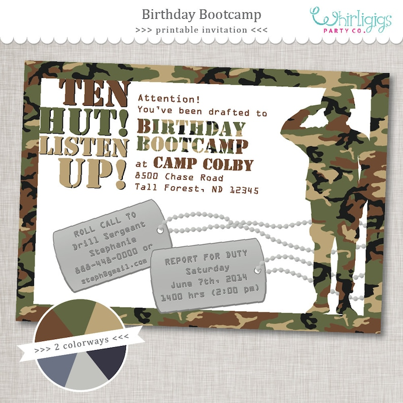 Bootcamp Birthday Army Party Invitation Printable Digital