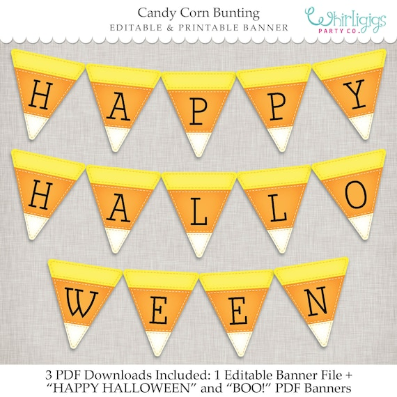 graphic relating to Printable Halloween Banners referred to as Sweet Corn Banner - Editable Immediate Down load 3 printable