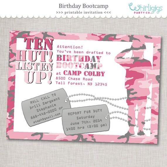 Pink Army Invitation Birthday Bootcamp Invite