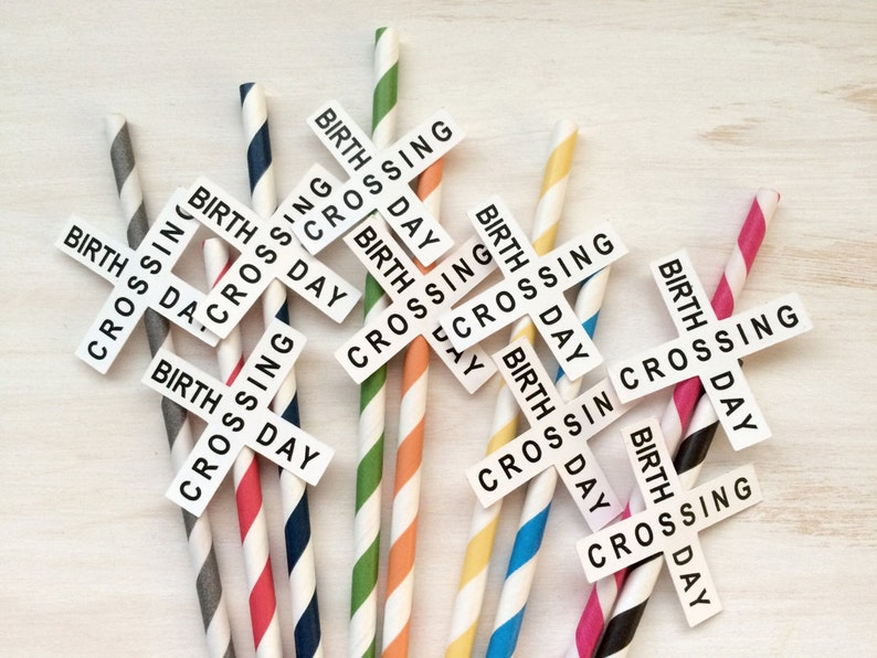 20 Train Party Straws - Railroad Crossing Straws OR Birthday Crossing  Straws - Train Party Drink Paper Straws - Your choice of colors!