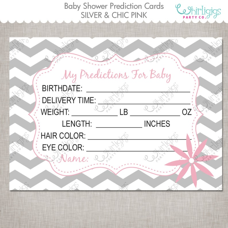 Pink /& Grey Baby Girl Bingo Predictions for Baby Game and Wishes for Baby Game Baby Shower Bingo Game Set INSTANT DOWNLOAD