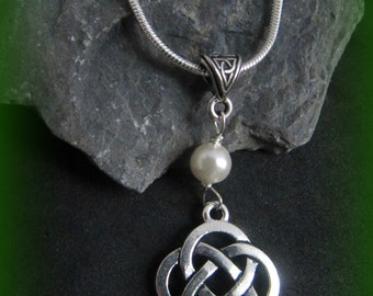 Silver Celtic Knot & Swarovksi Pearl Necklace