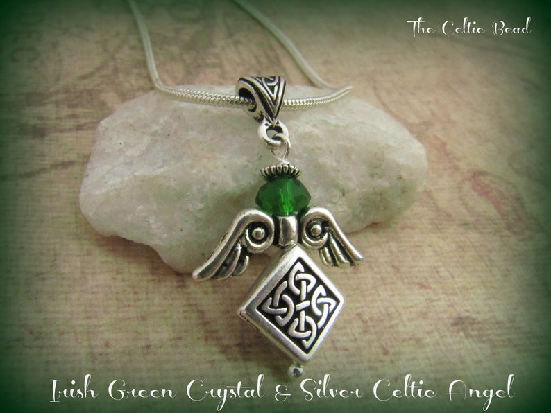 Irish Green Crystal and Silver Celtic Knot Angel Necklace