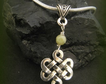 Irish Connemara Marble and Silver Celtic Knot Necklace