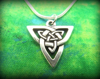 Silver Celtic Irish Trinity Knot Necklace with Silver Snake Chain