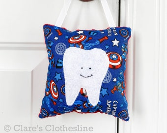Avengers Tooth Fairy Pillow Personalized Pillow for Boys Super Hero Tooth Pillow