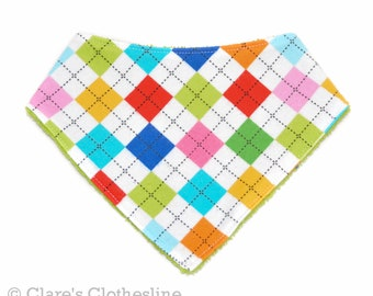Argyle Bandana Baby Bib | Bright Multicolor Flannel and Terry Cloth Drool Bib | New Baby Girl Gift | Baby Shower Gift | Ready to Ship