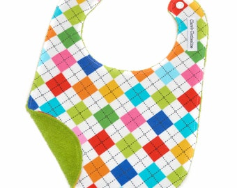 Argyle Baby Bib | Bright Multicolor Flannel and Terry Cloth | Gender Neutral Baby Gift | Baby Shower Gift | Ready to Ship