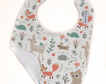 Woodland Animals Baby Bib | Woodsy Animals Flannel and Terry Cloth Bib | Bears, Deer, Foxes | Gender Neutral Baby Gift | Ready to Ship