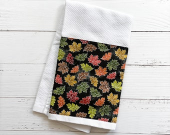 Autumn Hand Towel | Red, Orange, Green and Yellow Fall Leaves Dish Towel Kitchen or Bathroom Hand Towel | Hostess Gift | Ready to Ship