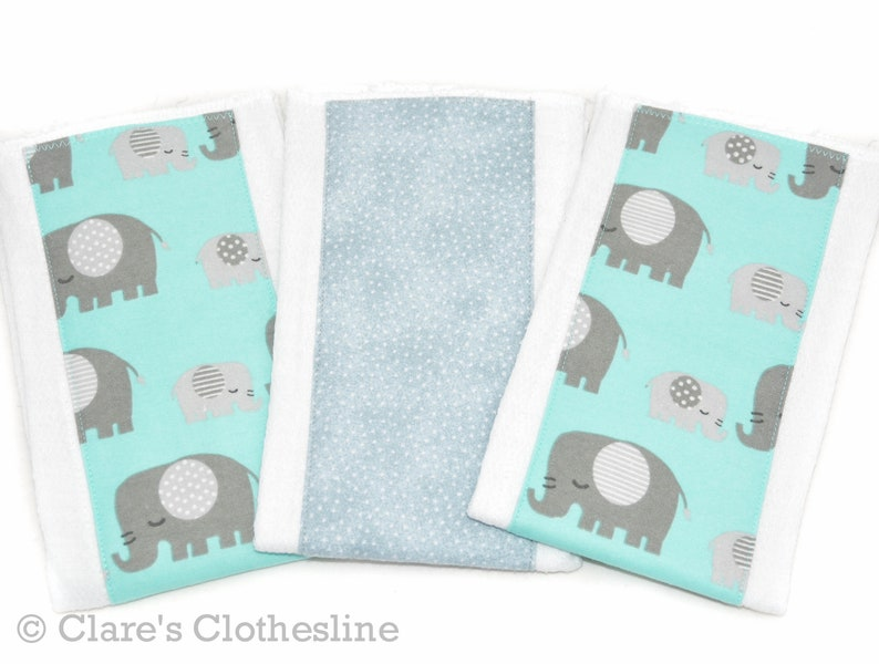 Gray and Aqua Elephants Burp Rags Ready to Ship Gender Neutral Baby Gift Elephant Baby Burp Cloths Set of 3 Safari Baby Shower Gift